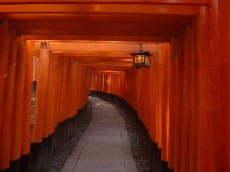 Torii tunnel, Inari, South of Kyoto, Japan