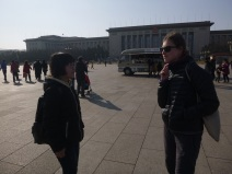 Beijing, Tienanmen square, Chinese girl practising her English
