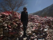 Mani wall close to Yushu, Qinghai, China
