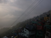 Darjeeling in the clouds, West Bengal, India