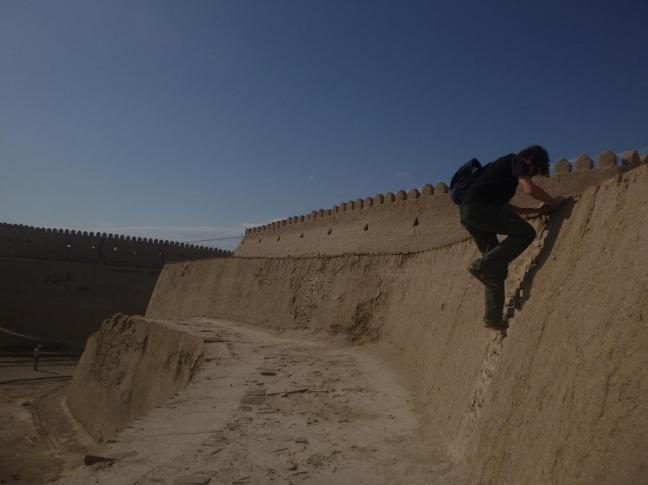 Climbing up the city walls, Khiva, Uzbekistan