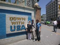 Close to the ex-American ambassy in Teheran with Joel and Anne, Teheran, Iran